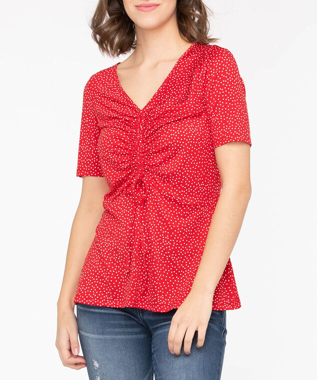 Ruched Front V-Neck Top, Crimson/Pearl, hi-res