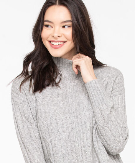 Cable Knit Mock Neck Sweater, Grey, hi-res