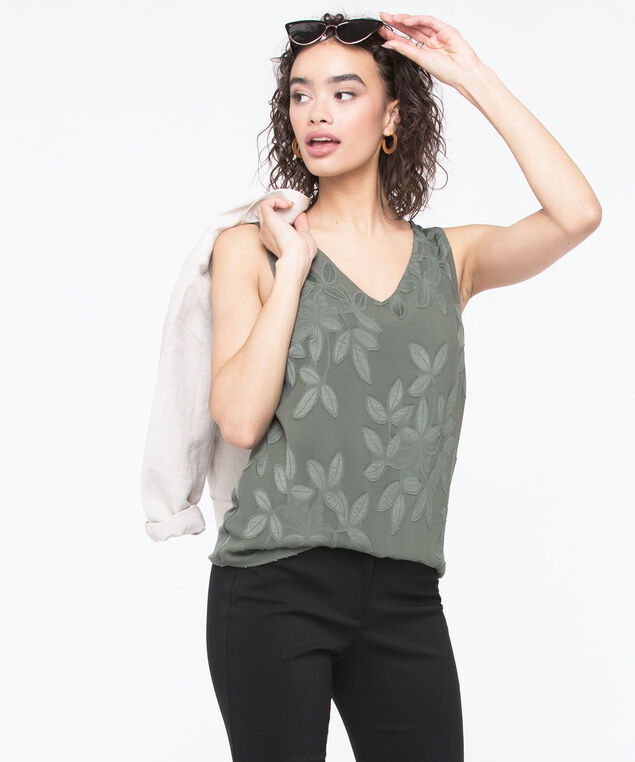 Sleeveless Jacquard Mixed Media Top, Basil, hi-res
