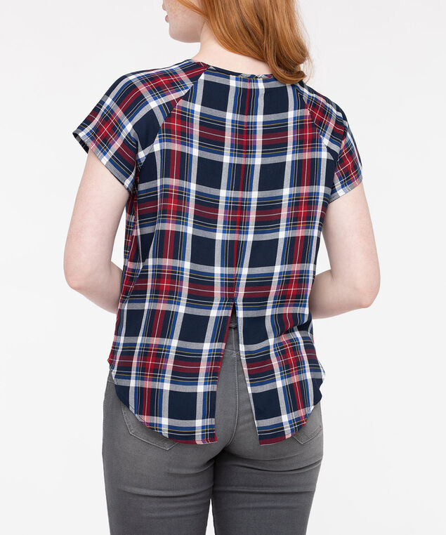 Short Sleeve Scoop Neck Plaid Blouse, Deep Sapphire/Inky Blue/Crimson, hi-res