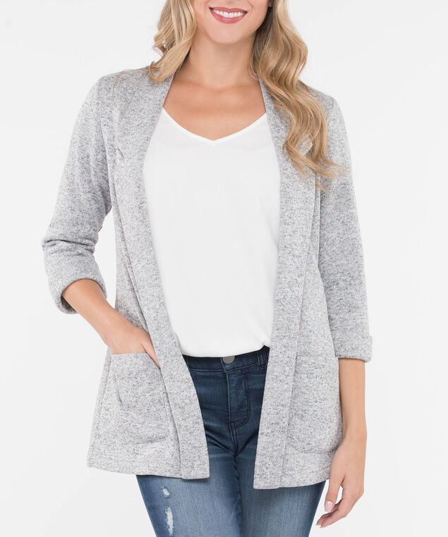 Soft Notch Collar Open Blazer, Light Heather Grey, hi-res