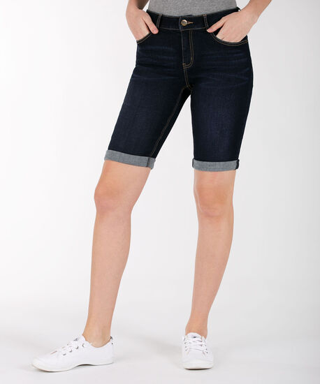 Cuffed Denim Bermuda Short, Dark Wash, hi-res