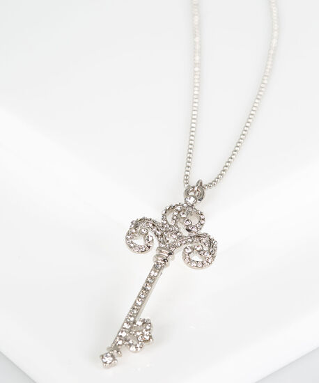 Crystal Key Pendant Necklace, Rhodium, hi-res