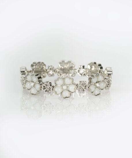 Flower & Clover Stretch Bracelet, Rhodium/Crystal, hi-res