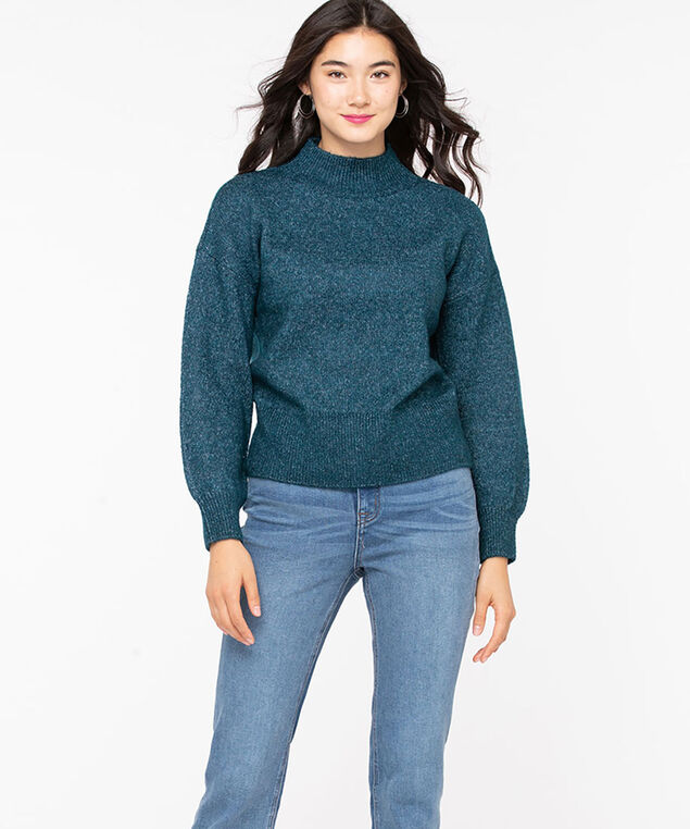 Balloon Sleeve Mock Neck Sweater, Teal Mix, hi-res