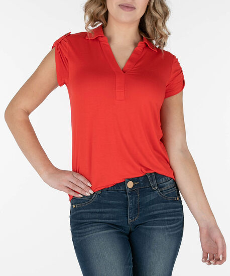 Collared Roll-Tab Shirt, Red, hi-res