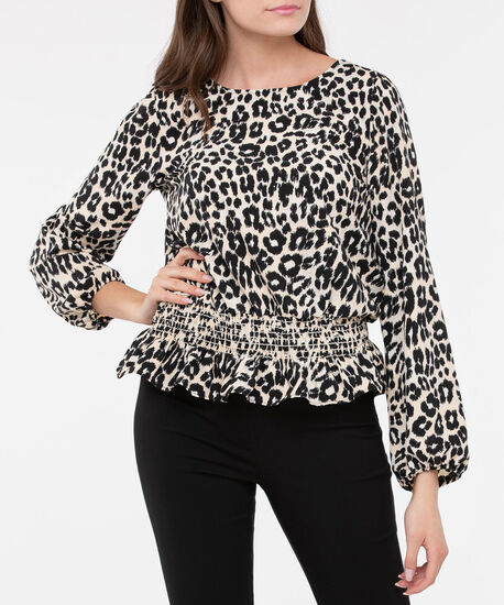 Animal Print Smocked Waist Blouse, Black/Camel, hi-res