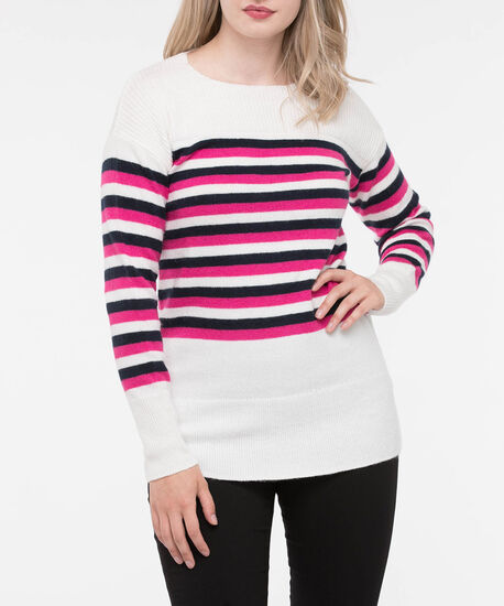Ribbed Trim Striped Pullover Sweater, Pearl/Black/Bright Pink, hi-res