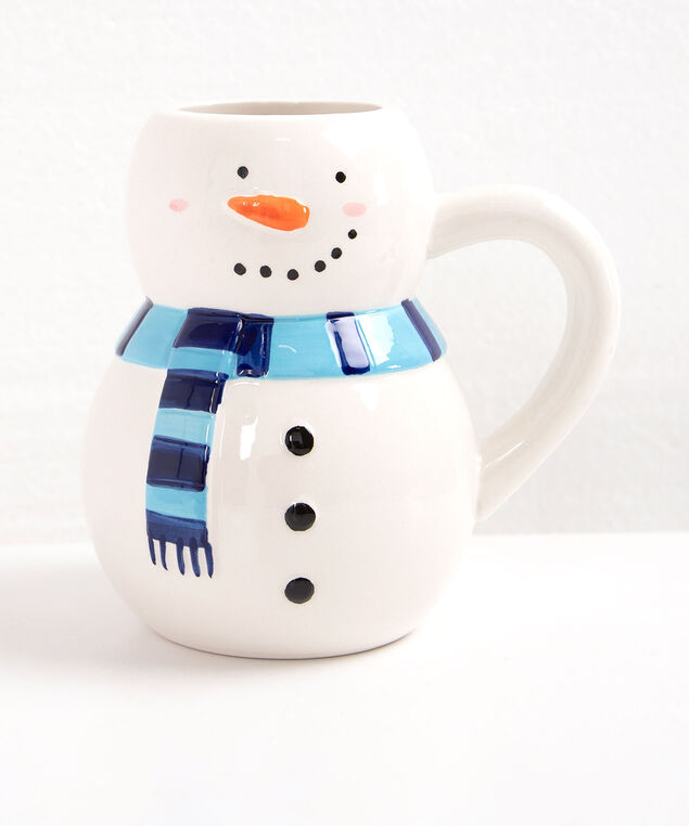 Snowman Ceramic Mug, Pearl/Black/Bright Blue, hi-res