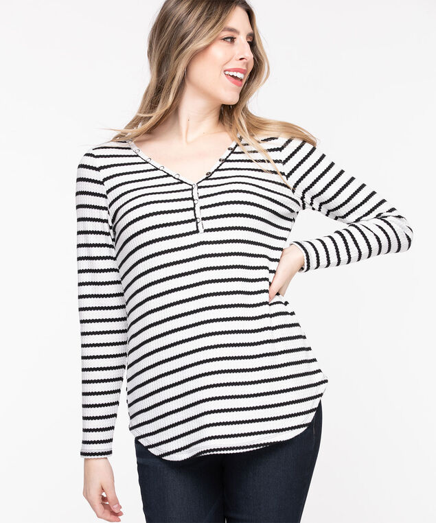 Waffle Knit V-Neck Top, Whisper White/Black Stripe