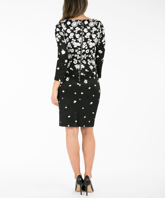 Placement Print Sheath Dress, Black/Ivory, hi-res