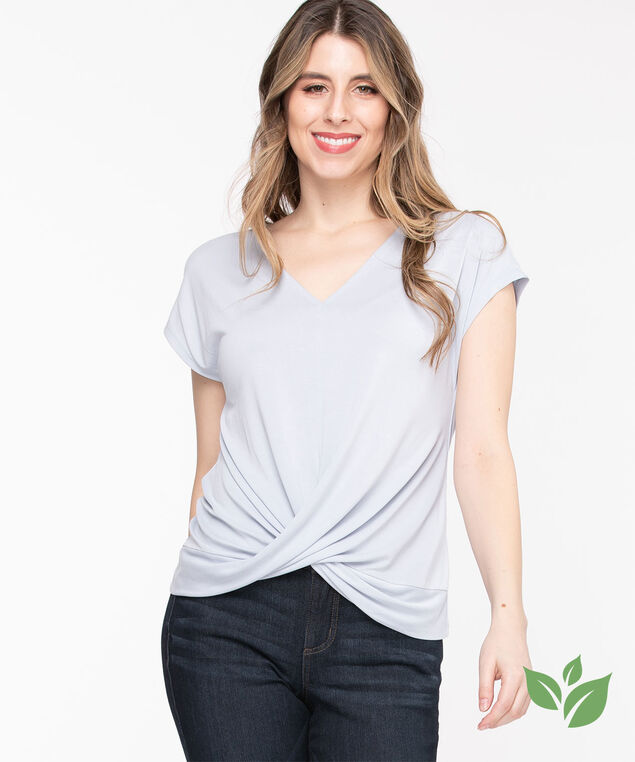 Eco-Friendly V-Neck Twist Hem Top, Heather