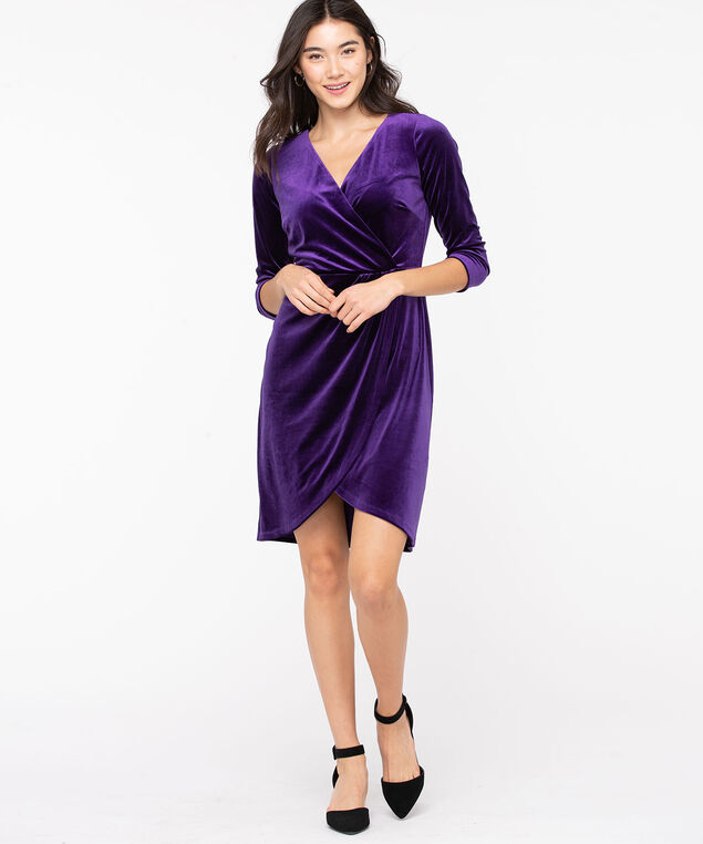 Velvet Wrap Front Dress, Purple, hi-res