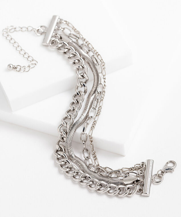 Mixed Chain Link Bracelet, Silver