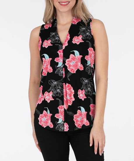Sleeveless Pleat Front V-Neck Top, Black/Watermelon/Teal, hi-res