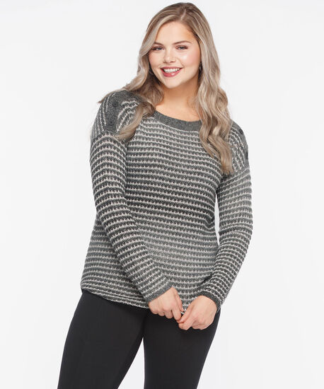 Button Boatneck Ombre Sweater, Mid Heather Charcoal/Pearl, hi-res