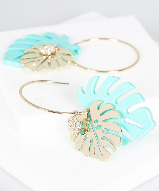 Resin Palm Leaf Hoop Earring, Gold/Turquoise, hi-res