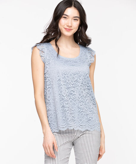 Lace Ruffle Sleeve Top, Dusty Blue, hi-res