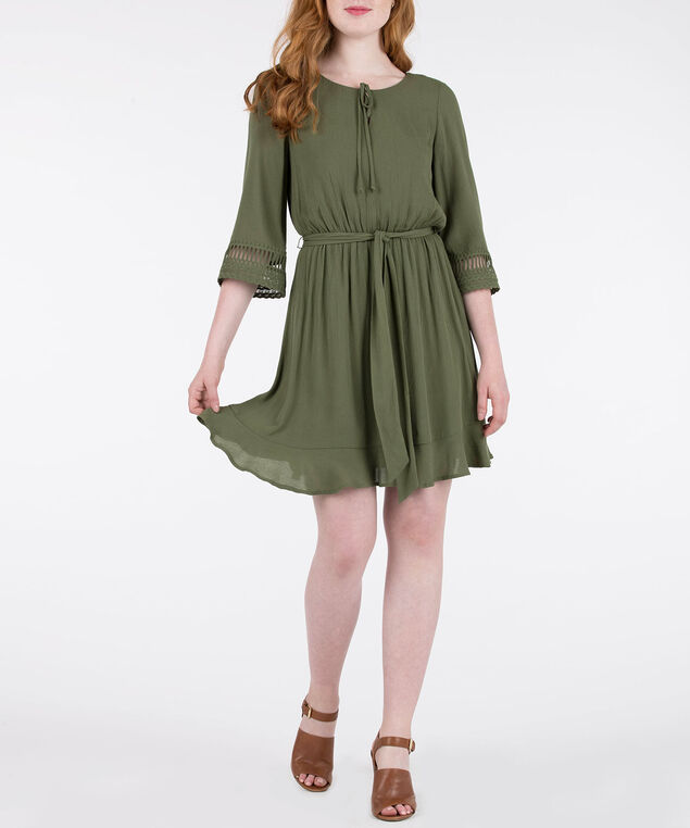 3/4 Crochet Trim Sleeve Dress, Autumn Olive, hi-res