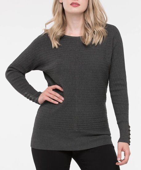 Lace Up Cuff Boatneck Sweater, Grey, hi-res