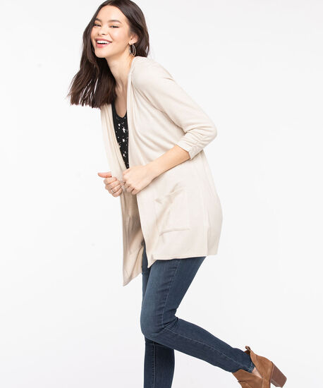 Hooded Tunic Length Open Cardigan, Almond, hi-res