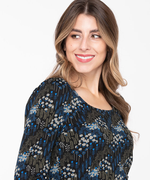 Puff Sleeve Scoop Neck Top, Black/Blue/Grey, hi-res
