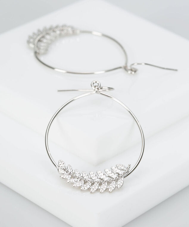 Feather Hoop Earring, Rhodium, hi-res