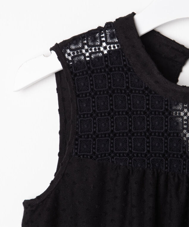 Sleeveless Crocheted Yoke Top, Black, hi-res