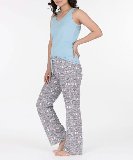Lace Trim Two-Piece Pajama Set, Pale Blue/Lilac/Pearl, hi-res