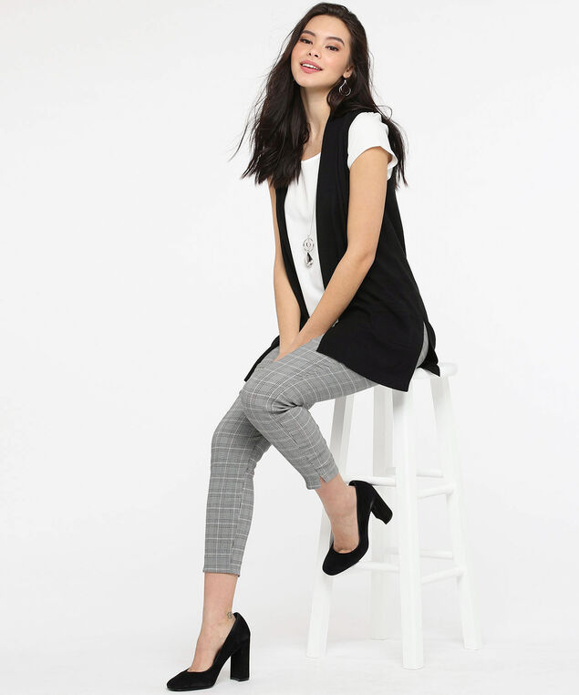 Textured Stripe Open Sweater Vest, Black, hi-res