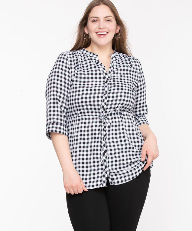 Button Front Tunic Length Blouse, Black/Pearl Check