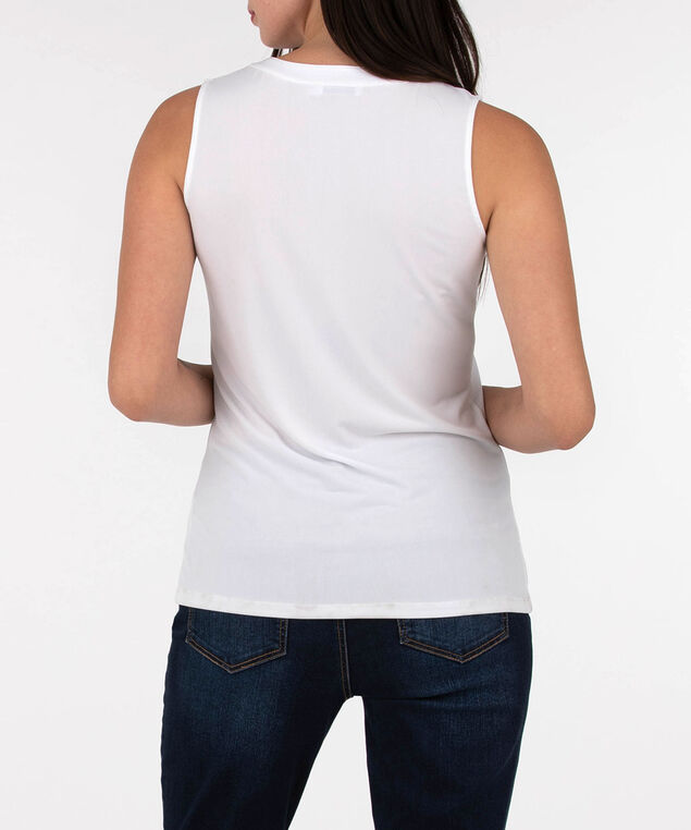 Sleeveless Button Front Henley Top, White, hi-res