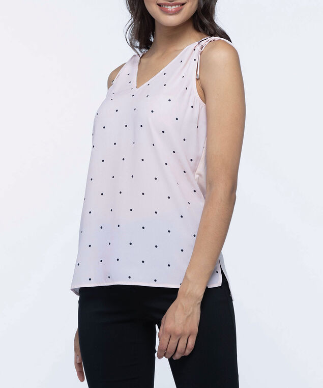 Sleeveless Drawstring Shoulder Top, Cameo Pink/Black, hi-res