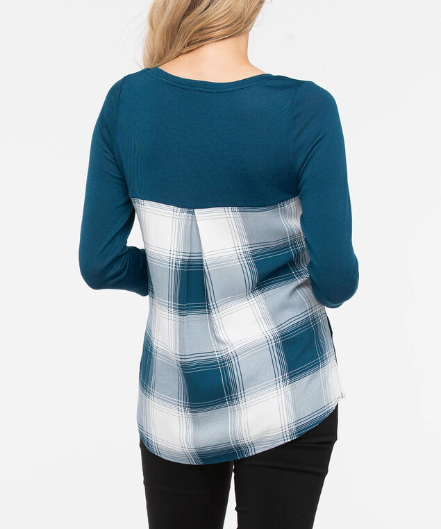 Lightweight Knit Fooler Top, Steel Blue/Pearl, hi-res