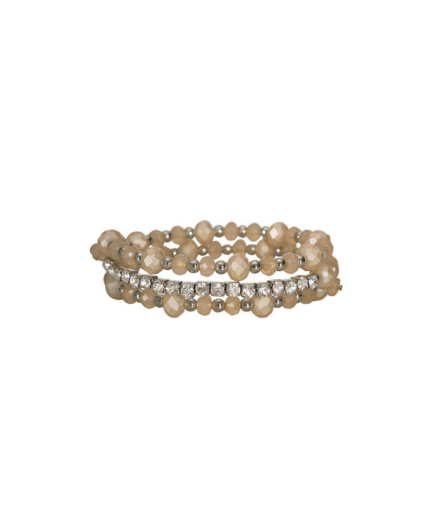 Bead & Crystal Coil Bracelet, Clear/Taupe/Rhodium, hi-res