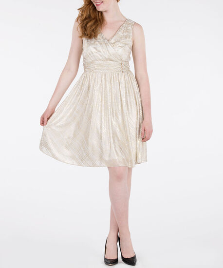 Sleeveless Crossover Crystal Trim Dress, Pearl/Gold, hi-res