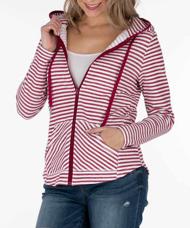 Striped Zipper Front Hoodie, Sangria/White, hi-res