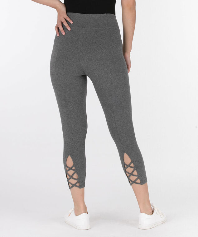 Criss-Cross Trim Crop Legging, Grey, hi-res