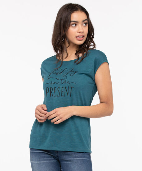 Scoop Neck Graphic Tee, Green Pa, hi-res