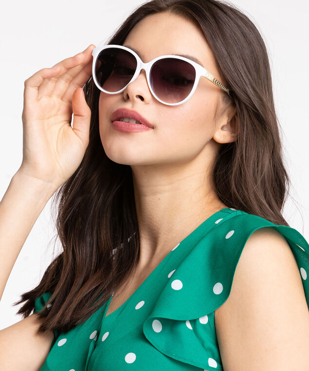 White Round Metal Arm Sunglasses, White/Gold