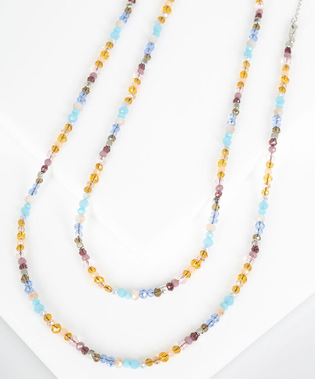 Seed Bead Layered Necklace, Rhodium/Cognac/Azure/Sky Blue, hi-res