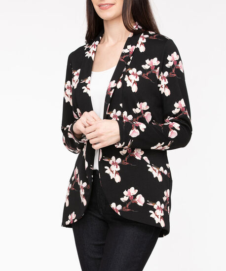 Scuba Crepe Shawl Collar Blazer, Black/Berry/Pearl, hi-res