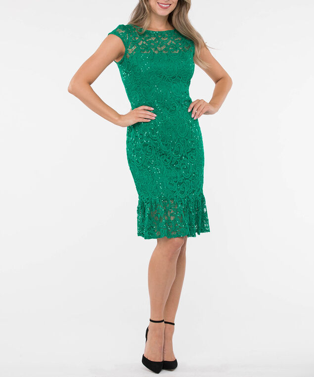 Sequin Lace Flounce Hem Dress, Emerald, hi-res