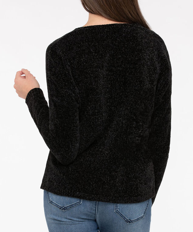 Cozy Chenille V-Neck Sweater, Black, hi-res