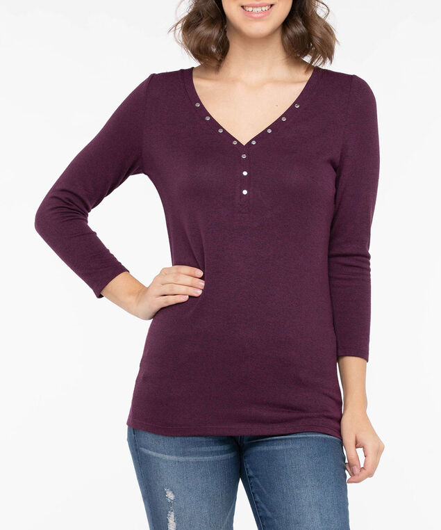 Studded Henley Knit Top, Berry, hi-res