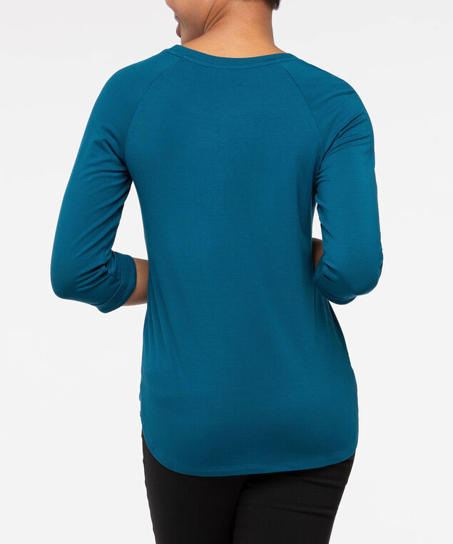 3/4 Raglan Sleeve Knit Top, Steel Blue, hi-res