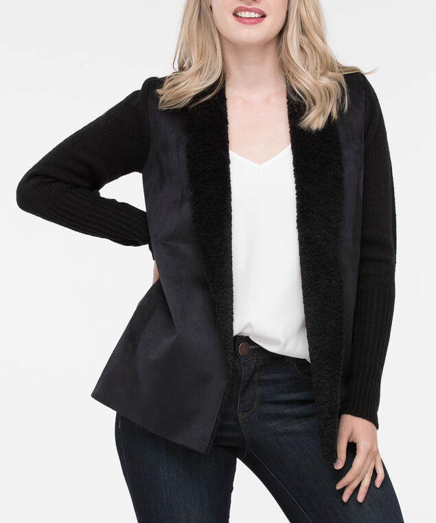 Suede Front Sherpa Lined Sweater Cardigan, Black, hi-res
