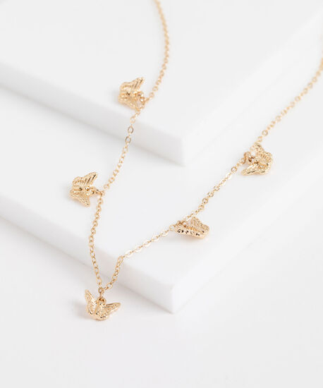 Stationed Butterfly Dainty Necklace, Gold, hi-res