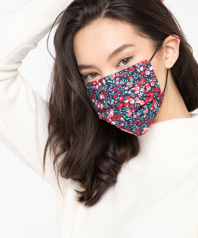 Printed Face Mask 2-Pack, Red/Red Berries