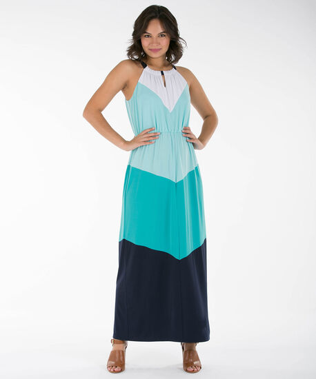 Colourblock Sleeveless Maxi Dress, Aqua/Teal/Navy/White, hi-res